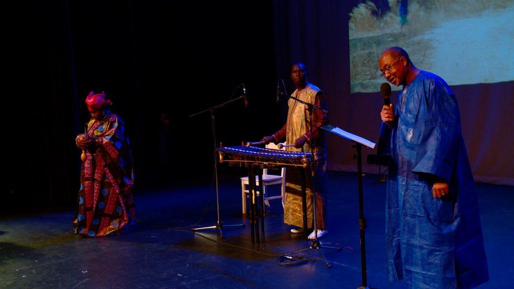 Hawa Kasse Made Diabate, Fode Lassana Diabate, Professor Cherif Keita performing at the Singing Storytellers Symposium.